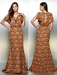 Formal Evening Dress - Brown Trumpet/Mermaid V-neck Sweep/Brush Train Chiffon