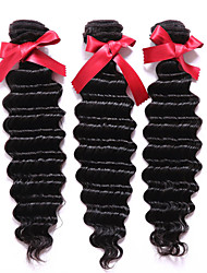 EVET 3pcs/lot 300g/lot Peruvian Deep Wave Virgin Hair Bundles Natural Color Deep Wave Human Hair Extensions