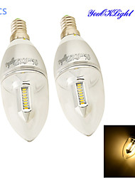 YouOKLight® 2PCS E14 3W 300lm 32 x SMD3014 Warm White LED Pointed tail shape Candle Lamp - Silver(AC 85~265V)
