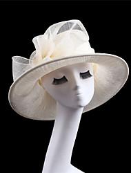 Women Sinamay Flowers  Derby Hat Fascinators Wedding Church Hat Ivory Pink