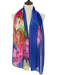 Women Scarf Chiffon Floral Print Contrast Color Block Long Spring Autumn Pashmina