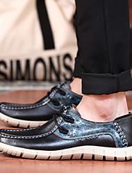 Черный / Коричневый Мужская обувь Для прогулок / Для офиса / На каждый день Кожа Кроссовки