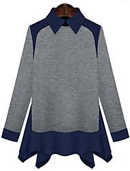 Quior Women's Color Block Black / Gray Casual Shirts , Casual Shirt Collar Long Sleeve Plus Size