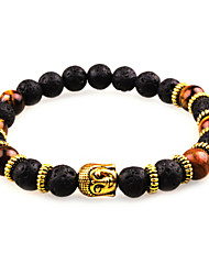 Women Men Fashion Bracelet Pulseras Mujer Black Lava Stone Buddha Beads Bracelet