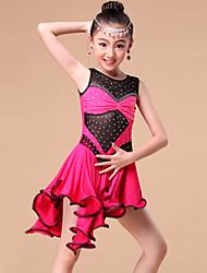 Vestidos y faldas(Fucsia / Azul claro / Rojo,Fibra de Leche,Danza Latina / Desempeño / Samba) -Danza Latina / Desempeño / Samba- paraNiños