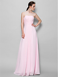 Floor-length Chiffon Bridesmaid Dress A-line Strapless with Criss Cross