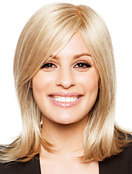 Prevailing Natural Straight Human Virgin Remy Hand-Tied Top Woman's Capless Medium Length Wig