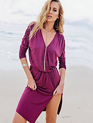 Women's Dress,Solid Deep V Above Knee Long Sleeve Purple Fall