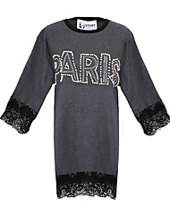 Women's Lace Black / Gray Tops & Blouses , Lace Round ¾ Sleeve