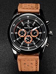 V6® Men's Military Design Leather Strap Quartz Casual Watch Cool Watch Unique Watch