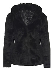 Women's Fashion Faux Fur Hoodie Warmth Long Sleeve Coat