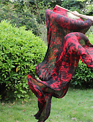 Belly Dance Tie Dyed High Quality Silk Fans 100% Real Silk New Tie-dyed Black-Red Silk Fans Veils 180*90CM 2pcs/L+R