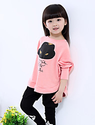 Girl's Pink / Gray Clothing Set,Cartoon Cotton Spring / Fall