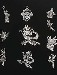 beadia antique en métal argenté pendentifs charme reine&la statue de la Liberté&ange&sirène pendentif bricolage