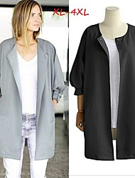Women's Solid Color White / Black / Gray Plus size Coats & Jackets , Casual / Work Round Long Sleeve