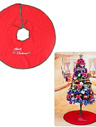 "35"" (90cm) Embroidered Red Merry Christmas Tree Skirt Mat Decoration"