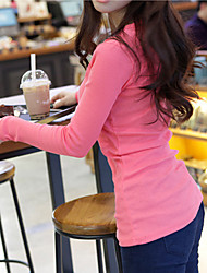 Women's Solid Pink / White / Black / Gray Blouse , Round Neck / V Neck Long Sleeve