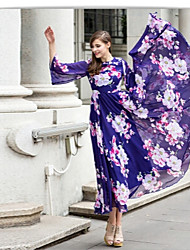 Women's Floral Multi-color Dresses , Casual / Print Round ¾ Sleeve