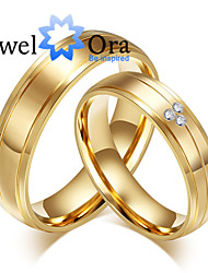 New Noble Fashion CZ Stone Titanium Steel Wedding 18K  Gold Ring Couples Ring For Women&Man