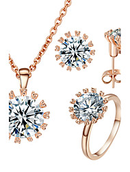 HKTC Elegant Valentine's Gift 18k Rose Gold Plated Top Cubic Zirconia Stone Earrings and Ring and Necklace Set