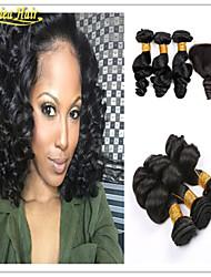 4 PC / Los brasilianisches reines Haar mit Verschlussunbearbeitete Haare weben 3 Bundles mit Spitzeschliessen brasilien lose Welle