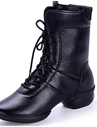 Women's Dance Shoes Boots Leather Cotton-padded Low Heel Black/Red