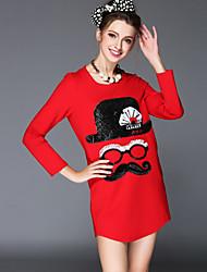 Women's Autumn Fashion Vintage Bead Sequins Plus Size Long Sleeve Loose Mini Dress