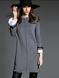 Women's Solid Color Black / Gray Dresses , Casual / Party / Work Round Long Sleeve