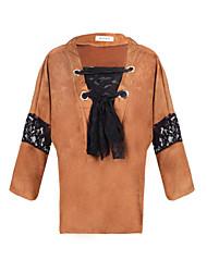T-Shirts ( Acrylique / Coton mélangé ) Informel Col V à Manches longues pour Femme