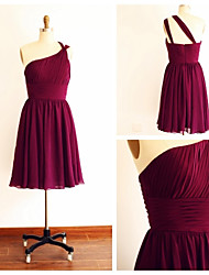 Knee-length Chiffon Bridesmaid Dress - Burgundy A-line One Shoulder