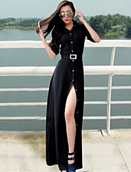 Women's Solid Color Black Dresses , Casual Round Long Sleeve