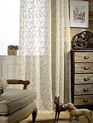 dois painéis de linho de algodão bordado moderno mola misturar cortinas diáfanas cortinas