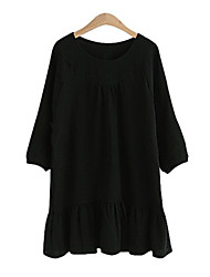 Women's Ruffle Solid White/Black Dress,Plus Sizes Round Neck Long Sleeve