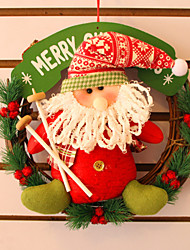 "30CM/12"" Christmas Rattan Hoop Christmas Decoration Hangings Christmas Wreath Santa Claus"