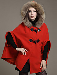 Women's Cape Style Fur Hooded Solid Loose Trench Coat , Casual Batwing Sleeve