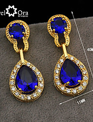 Wholesale Women Jewelry Drop Earrings Crystal Vivid Blue Cz Amethyst Crystal Earrings