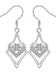 Lovely Silver Plated Clear Crystal Hollow Heart Dangle Earrings for Party Women Jewelry Accessiories