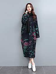 Women's Floral Red / Navy Blue Dress , Vintage / Casual Round Neck Long Sleeve