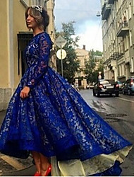 Women's Lace Blue Dresses , Casual / Party Round Long Sleeve
