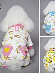 Dog / Cat Coat / Pants Blue / Pink / Yellow Winter Cartoon Wedding / Cosplay