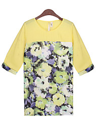 Women's Print White / Yellow Tops & Blouses , Casual Round ¾ Sleeve