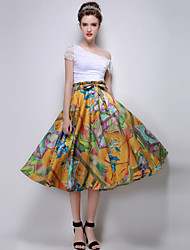 Women's Print Yellow Skirts , Casual Knee-length