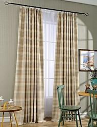 Dois Painéis Rústico Riscas Azul / Terra Quarto Linho/Mistura de Algodão Painel Cortinas cortinas