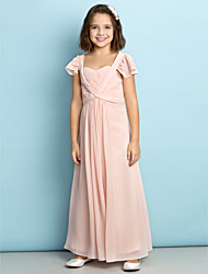Lanting Bride® Ankle-length Chiffon Junior Bridesmaid Dress - Mini Me A-line Queen Anne with Draping / Ruching