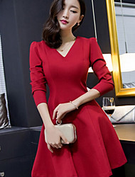 Women's Solid Red Dress , Party V Neck Long Sleeve
