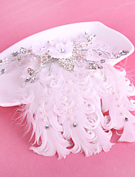 Bride's Feather Rhinestone Forehead Wedding  Hair Clip Barrette Accessories 1 PC