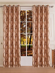 One Panel Modern Curve Coffee Bedroom Polyester Panel Curtains Drapes
