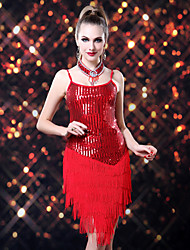 Latin Dance Dresses Women's Performance Spandex / Polyester / Sequined Sequins / Tassel(s) 1 Piece 4 Colors