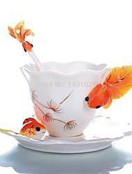 esmalte da porcelana copo de chá caneca peixinho cerâmico chinês conjunto de chá em cerâmica de moda pintado copo de café