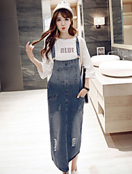 Women's Loose Denim Dress / Strap Dress